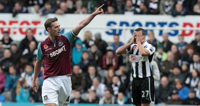 Steven Taylor cannot look as Kevin Nolan celebrates West Ham winner