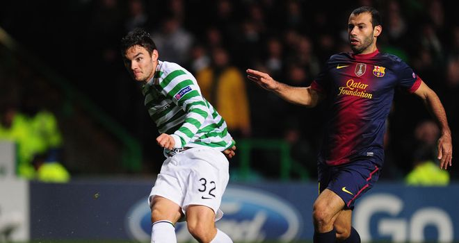 Tony Watt: Fires home his goal against Barcelona