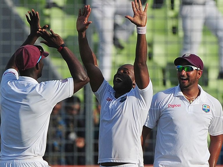 Tino Best celebrates West Indies' victory