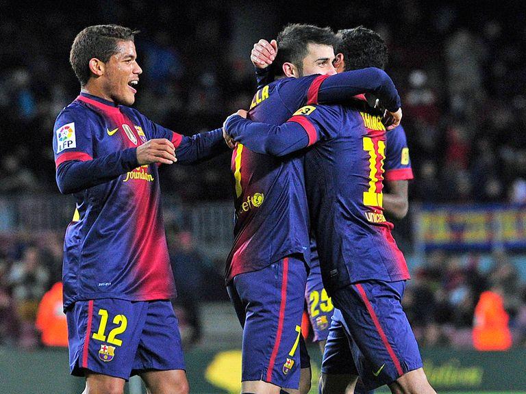 David Villa celebrates for Barcelona