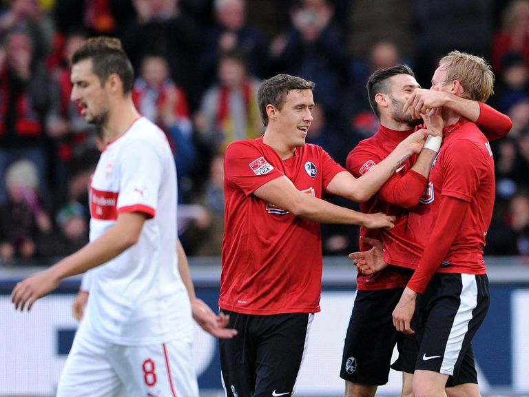 Freiburg celebrate against Stuttgart