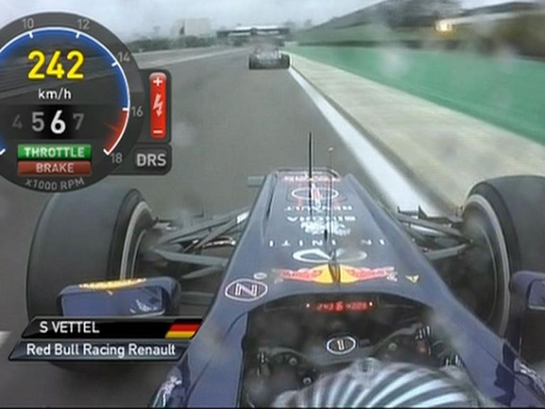 Vettel goes past the yellow light