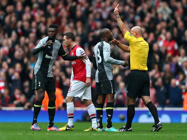 Emmanuel Adebayor: Sent off at Arsenal