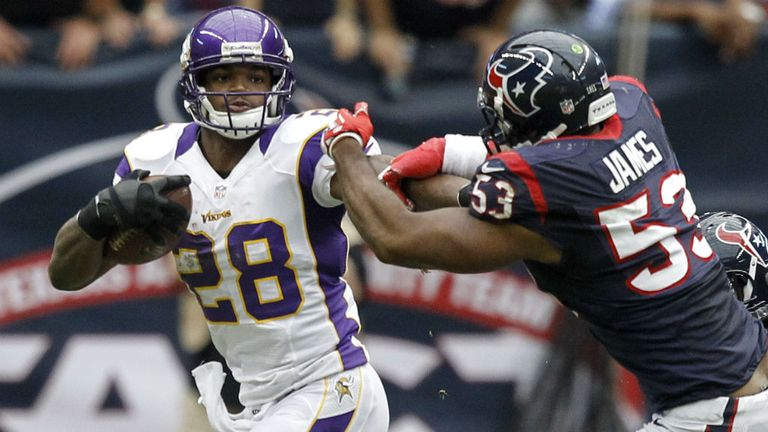 Adrian Peterson: still short of 2,000 yards rushing, despite Minnesota winning on the road