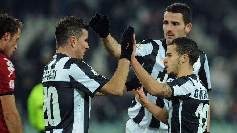 Sebastian Giovinco: Celebrates his winner against Cagliari on Wednesday night