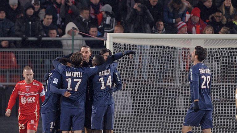 Zlatan Ibrahimovic: Celebrates with his PSG team-mates