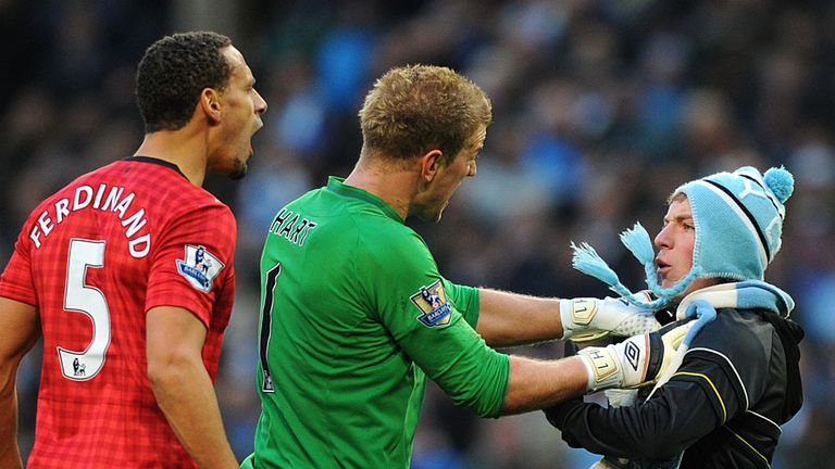 Joe Hart: Intervened as Matthew Stott confronts Rio Ferdinand