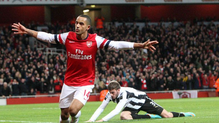 Theo Walcott staked his claim for a striking role with a Christmas hat-trick
