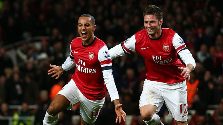 Theo Walcott and Olivier Giroud scored five goals between them against Newcastle