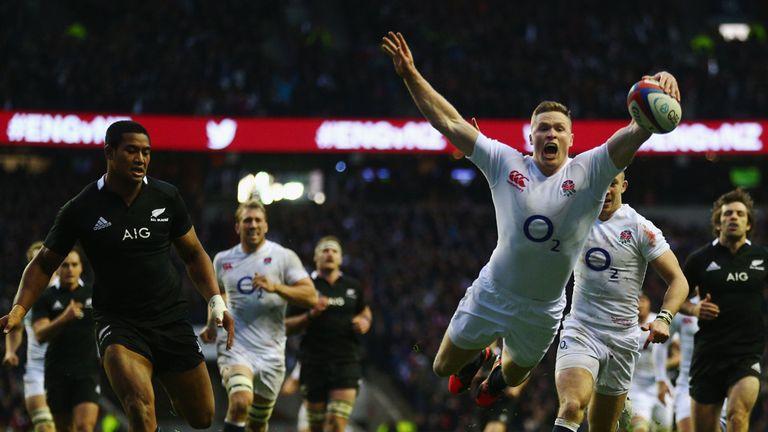 Chris Ashton scores a try against New Zealand
