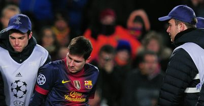 Lionel Messi: Suffered a bruised left knee against Benfica