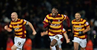 Bradford: Players celebrate after Duke saved from Vermaelen