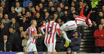 Kenwyne Jones celebrates in style after heading Stoke in front