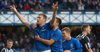 Kevin Kyle: Celebrates his goal for Rangers