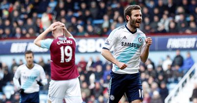 Juan Mata scored the first goal of the Rafael Benitez era at Chelsea as he fired the Blues into a 1-0 lead at West Ham in the early game