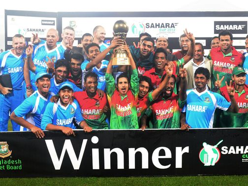Bangladesh celebrate their one-day series victory over West Indies