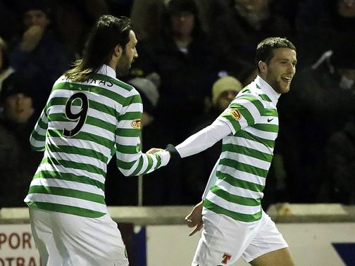 Adam Matthews celebrates his goal for Celtic