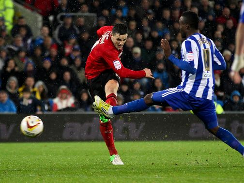 Craig Conway scores Cardiff's winner against Sheffield Wednesday.
