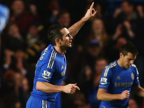 Frank Lampard celebrates a landmark goal
