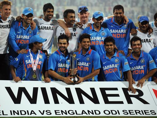 India celebrate their 5-0 win over England in 2011