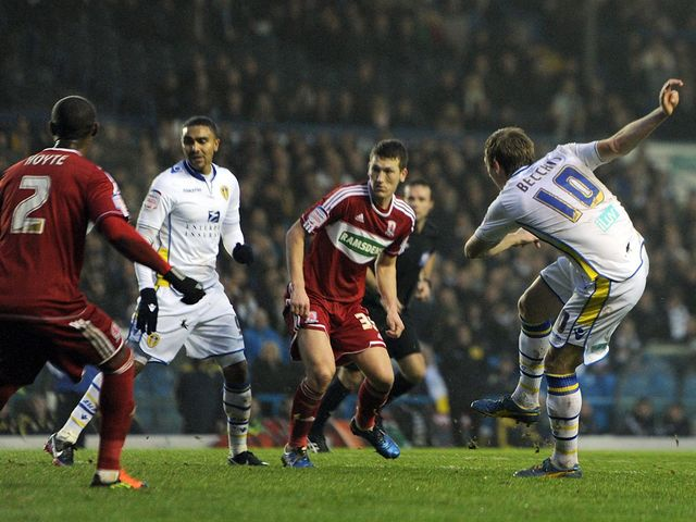 Luciano Becchio scores his first goal of the game