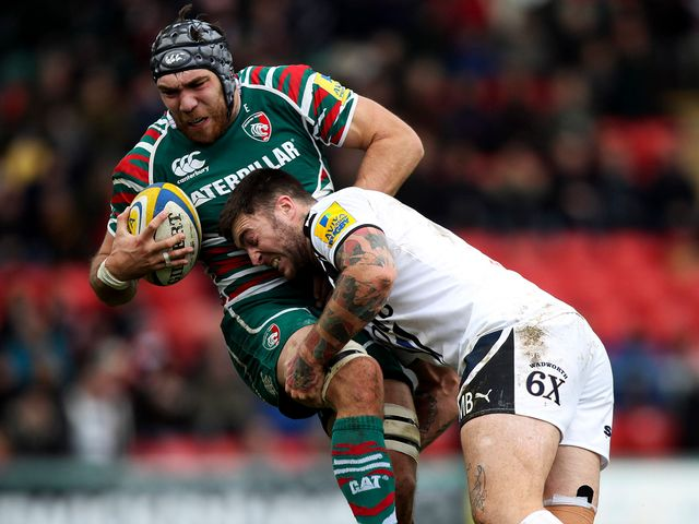 Matt Banahan stops Graham Kitchener.