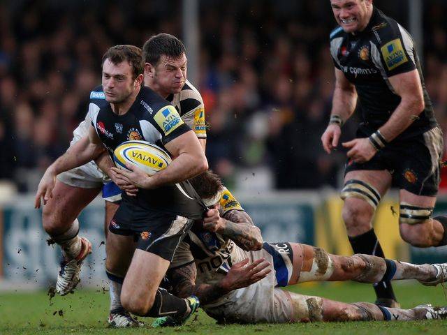 Exeter's Luke Arscott is tackled