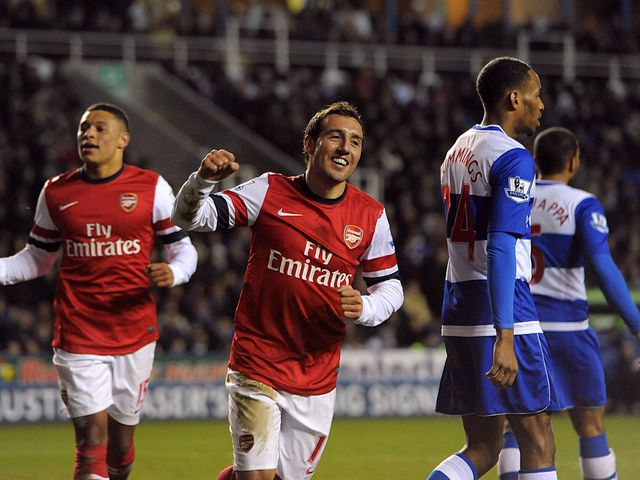 Santi Cazorla celebrates scoring his hat-trick goal