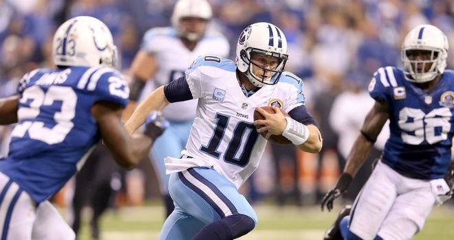 Jake Locker: Tennessee Titans quarterback scrambles out of the pocket