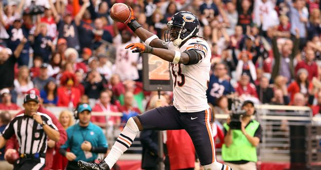 Charles Tillman: Celebrates his touchdown