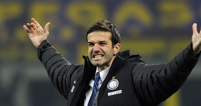 Andrea Stramaccioni celebrates Inter's win