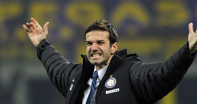 Andrea Stramaccioni celebrates Inter's win