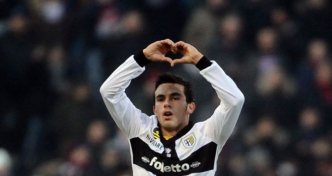 Nicola Sansone celebrates for Parma