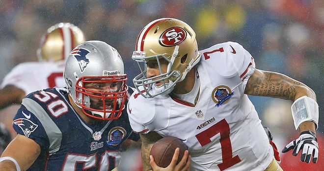Colin Kaepernick: Threw four touchdown passes in Sunday night's 41-34 win over the Patriots