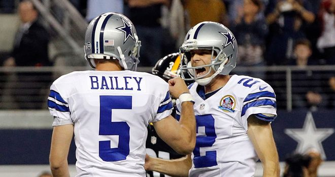 Dan Bailey celebrates giving the game-winning field goal in overtime against Pittsburgh