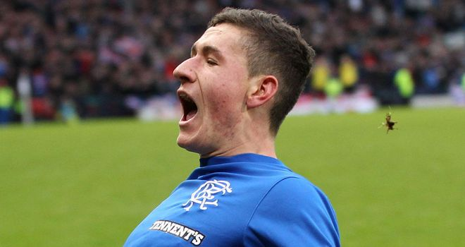 Fraser Aird: Celebrates his goal late on for Rangers