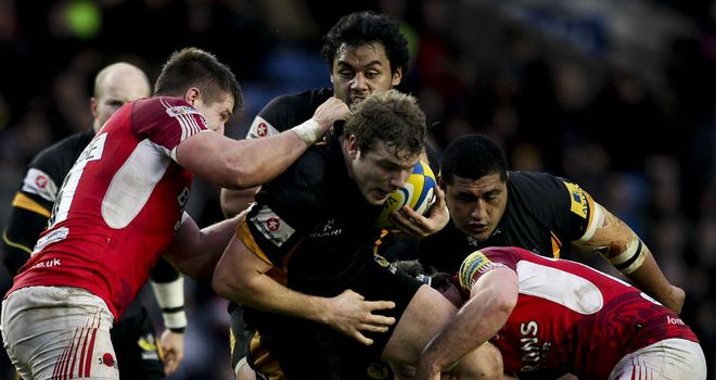 Joe Launchbury makes some hard yards for Wasps
