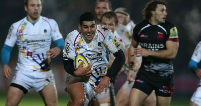Josh Matavesi on the charge for Worcester