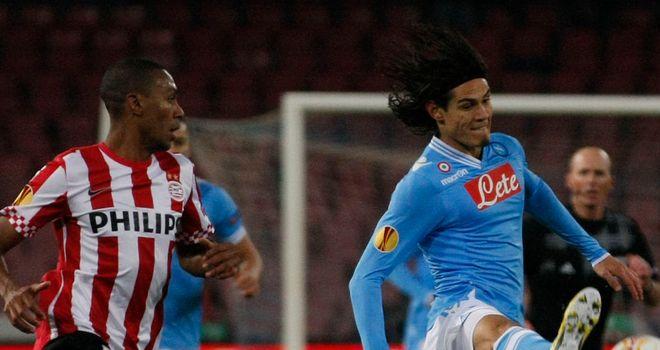 Edinson Cavani looks to get clear of Marcelo