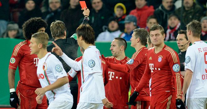 Franck Ribery: Sent off at Augsburg