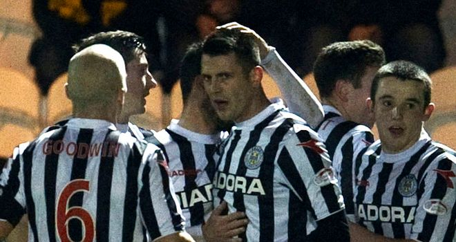Steven Thompson: Celebrates one of his goals with his team-mates