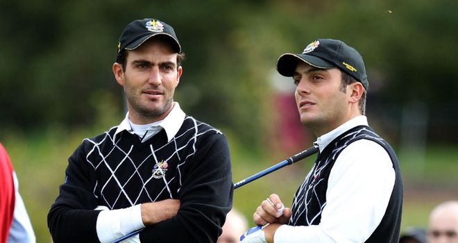 Edoardo Molinari (L) represented Europe at the 2010 Ryder Cup alongside brother Francesco (R)