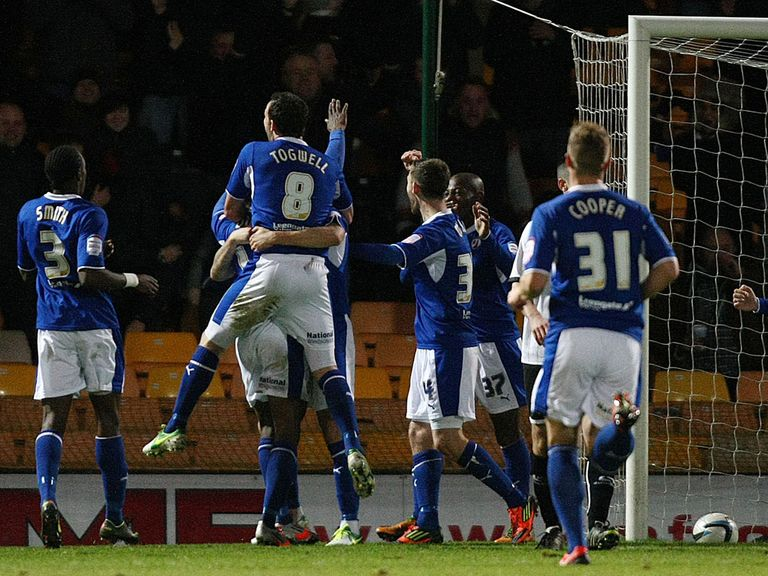 Chesterfield celebrate their second goal against Port Vale