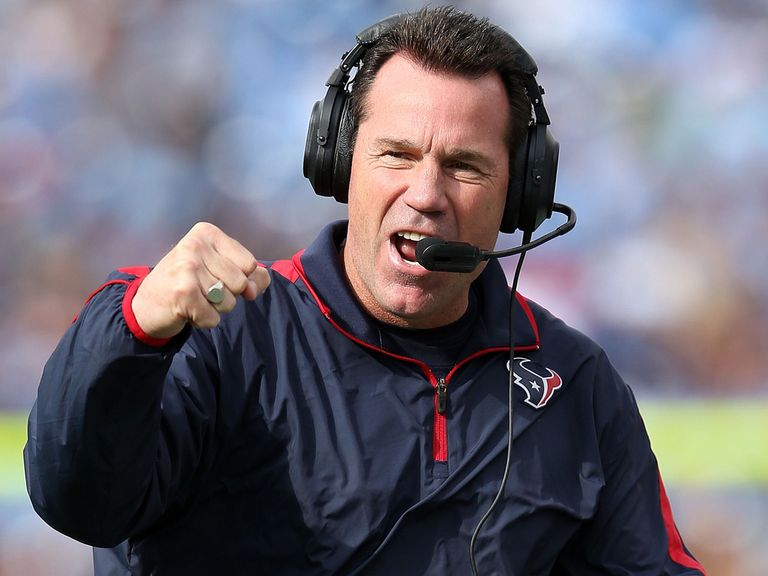 Texans head coach Gary Kubiak celebrates