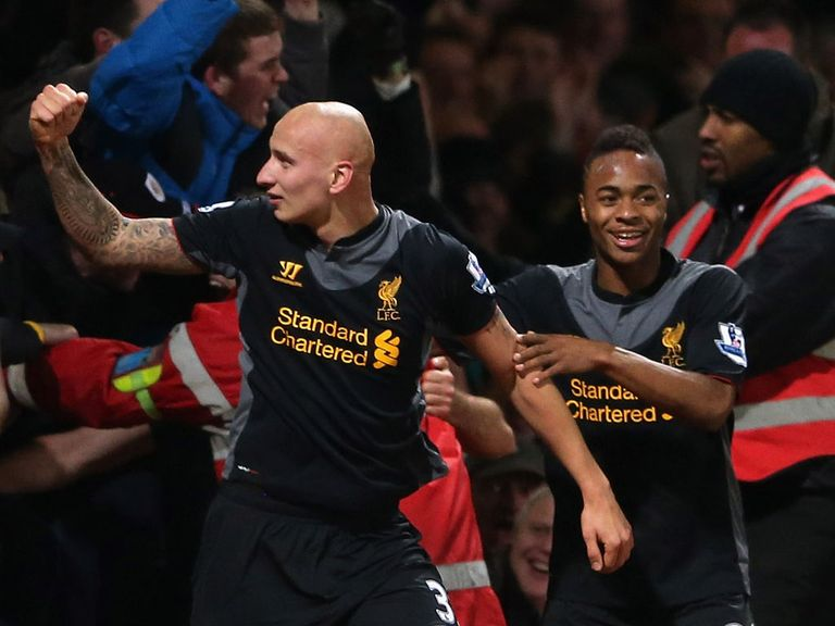 Jonjo Shelvey celebrates Liverpool's winner