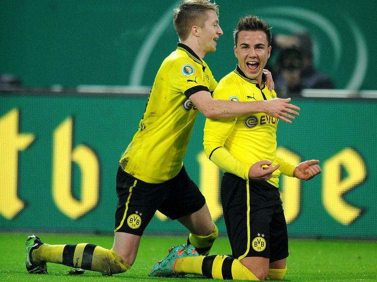 Mario Gotze enjoys his hat-trick.