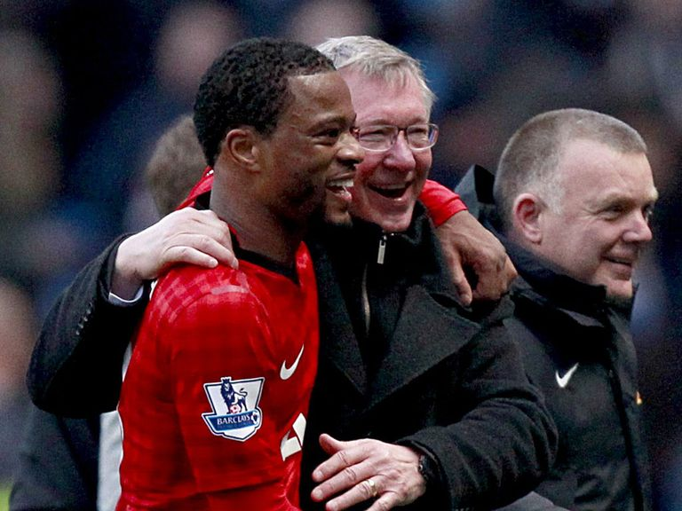 Sir Alex Ferguson celebrates at the Etihad