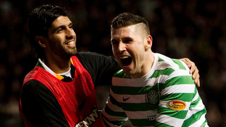 Gary Hooper: Celtic striker celebrates his goal against Motherwell