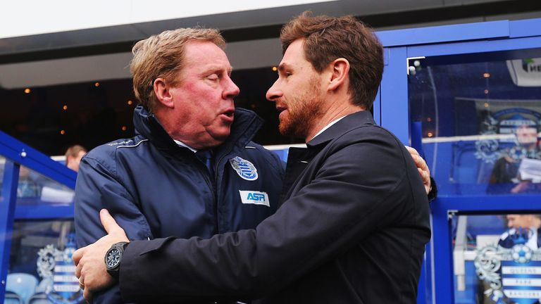 Harry Redknapp: Greets Andre Villas-Boas on the touchline at Loftus Road
