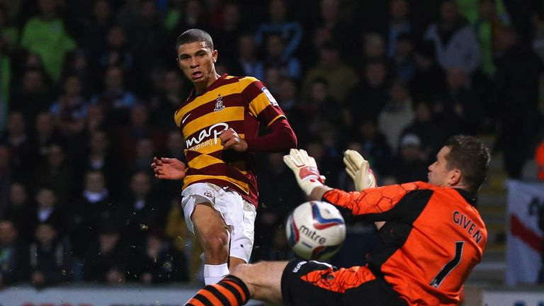 Nahki Wells: Bradford forward opens the scoring in Capital One Cup semi-final victory over Aston Villa